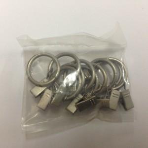 Кольцо с зажимом (комплект 10шт метал. колец+10 метал. зажимов) D16 сатин (100 упак/короб)