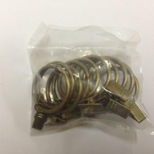 Кольцо с зажимом (комплект 10шт метал. колец+10 метал. зажимов) D19 антик (100 упак/короб)
