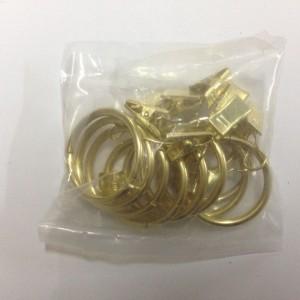 Кольцо с зажимом (комплект 10шт метал. колец+10 метал. зажимов) D19 золото (100 упак/короб)