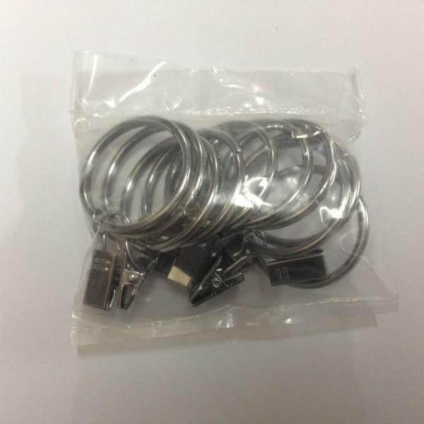Кольцо с зажимом (комплект 10шт метал. колец+10 метал. зажимов) D19 хром (100 упак/короб)