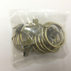 Кольцо с зажимом (комплект 10шт метал. колец+10 метал. зажимов) D25 антик (100 упак/короб)