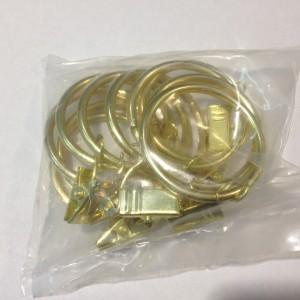 Кольцо с зажимом(комплект 10шт метал. колец+10 метал. зажимов D25 золото (100 упак/короб)