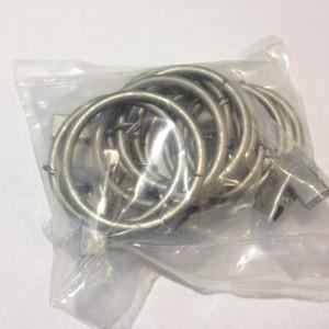 Кольцо с зажимом(комплект 10шт метал. колец+10 метал. зажимов D25 сатин (100 упак/короб)
