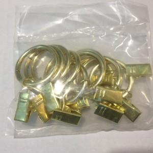 Кольцо с зажимом(комплект 10шт метал. колец+10 метал. зажимов D16 золото (100 упак/короб)