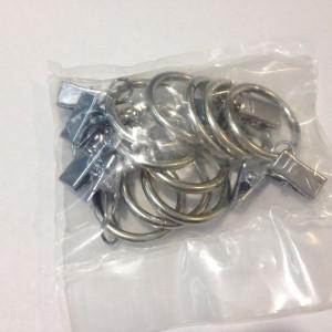 Кольцо с зажимом(комплект 10шт метал. колец+10 метал. зажимов D16 хром (100 упак/короб)